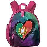 Ikejsne Heart Portugal Flag Kid's Mini Backpack Shoulder Schoolbag with Front Pockets