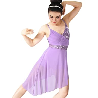MiDee Lyrical Dance Costume Dress Sequined V-Neck High-Low For Girls Women (