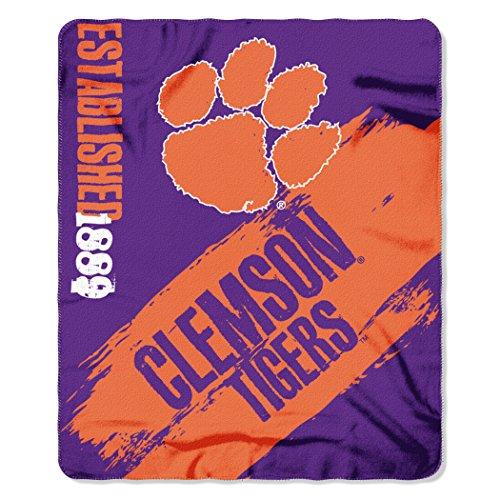 NCAA Clemson Tigers Painted Printed Fleece Throw, 50