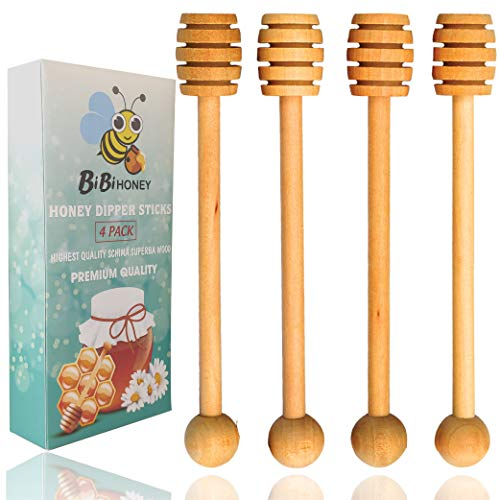 Handmade Wooden Honey Dipper Sticks by BIBI HONEY - 6,5 Inch Wooden Syrup Dippers - Honeycomb Sticks Perfect for Drizzling Honey | Maple Syrup | Chocolate | Caramel - Honey Spoons - 4 Pack ...