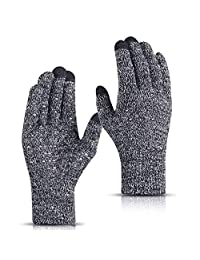 FUDOSAN Winter Gloves Touch Screen Cold Weather Knit Glove for Men and Women - Thermal Soft Wool Lining - Stretchy Material (Grey)