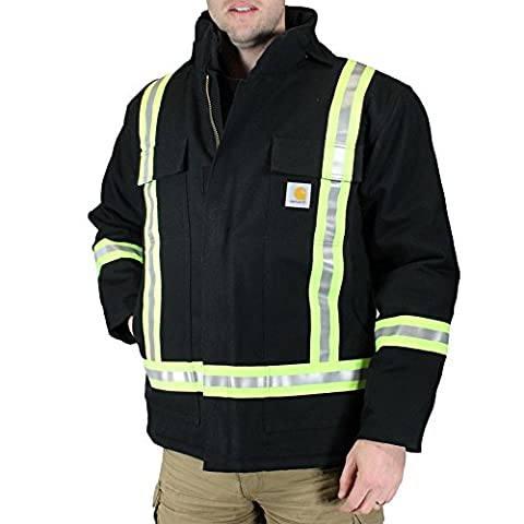 Carhartt Men's 101694 High-Visibility Striped Duck Traditional Coat - Quilt Lin - 2X-Large Regular - Black