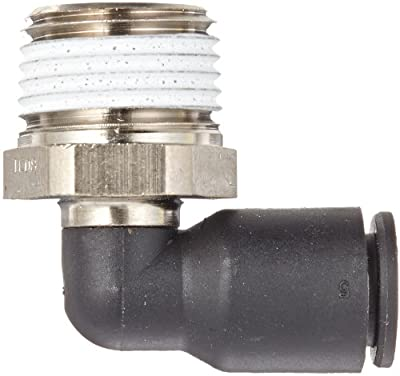 Legris 3109 Nylon & Nickel-Plated Brass Push-to-Connect Fitting, 90 Degree Elbow, Tube OD x NPT Male, Inch