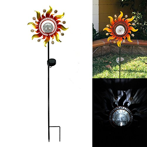 Unido Solar Powered Metal Sunray Garden Stake with White LED Light and Mosaic Glass Crackle Ball Auto On/Off Yard Art…