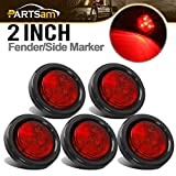 "Partsam 5pcs 2"" Red Round Sealed Marker Light 4 LED Mount Grommet/Pigtails"