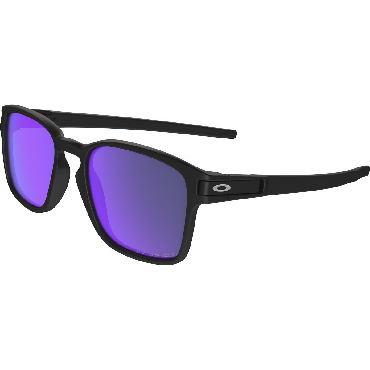 Oakley Men's Latch Squared Polarized Iridium Rectangular Sunglasses, Matte Black w/Violet Iridium Polar, 52 mm