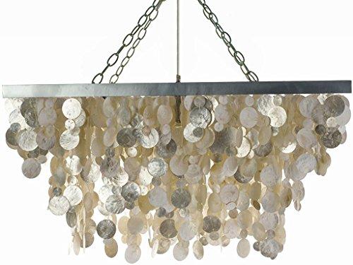 KOUBOO 1050053 Rectangular Capiz Seashell Rain Drop Pendant Lamp, 32