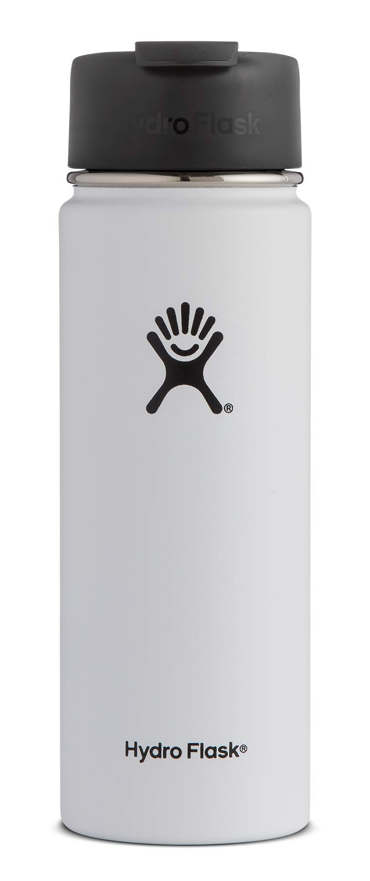 Hydro Flask 20 oz Travel Coffee Flask | Stainless Steel & Vacuum Insulated | Wide Mouth with Hydro Flip Cap | White