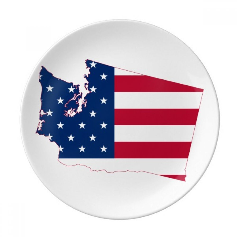 Washington America Map Stars Stripes Flag Dessert Plate Decorative Porcelain 8 inch Dinner Home