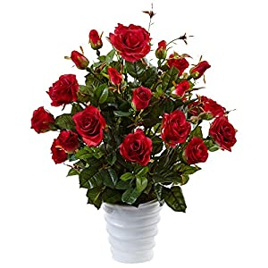 Nearly Natural Rose Bush Silk Arrangement in Swirl Planter Red 19