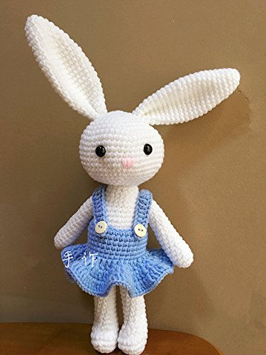HYST Pastel Rabbit Handmade Amigurumi Stuffed Toy Knit Crochet Doll Baby Bunny Animal Toy (Blue - Crochet Rabbit