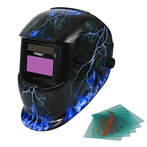 Yorbay® Solar Automatisch verdunkelnd Schweißhelm Schweißmaske mit 5 Stück Ersatzgläser, Schleif-Funktion (Skull, Lightning)