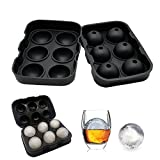 Image of Wosweet Ice Cube Tray Mold - Black Silicone Ice Ball Maker With 6 X 4.5cm Round Ice Ball Spheres for Whiskey, Cocktails & Bourbon