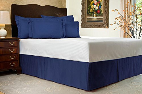 Hotel Collection 1800 Series 18 Inch Drop Length (Full, Navy Blue) Stripe Bed Skirt with Box Pleats and Split Corners - Brushed Microfiber Wrinkle & Fade Resistant By Universal Bedding
