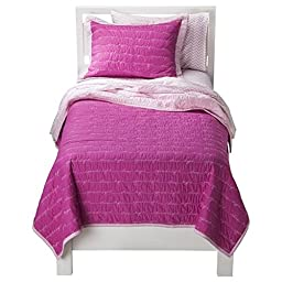 Circo Full Queen Quilt Sham Set Pink Goodnight Embroidered Sentiments Girls Bed