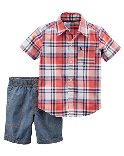 (Carter's Boys' 2-Piece Button-Front Top and Short Set (4T, Chambray/Plaid))