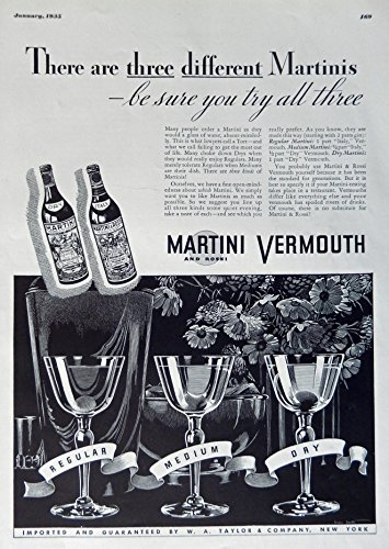 Martini and Rossi Vermouth, 1935 Print Ad. B&W Illustration (there are three different Martinis...regular, medium, dry) authentic original vintage 1935 Esquire Magazine Art (Martini Rossi Dry Vermouth)