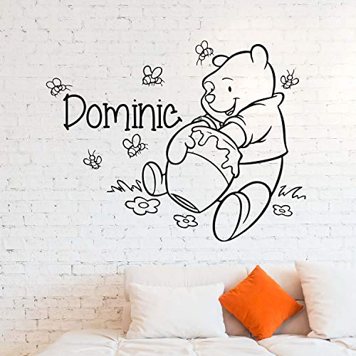 (Wall Decals Winnie The Pooh Custom Name Wall Decal Personalized Sticker Art Disney Decorations for Home Teen Kids Boys Room Bedroom Nursery Decor Made in USA)