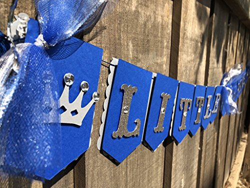 Little Prince, royal theme banner Royal blue metallic silver and glitter It's a boy, baby shower banner, gender reveal first birthday photo prop ()