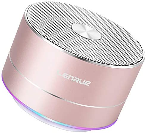 A2 LENRUE Moveable Wi-fi Bluetooth Speaker with Constructed-in-Mic,Handsfree Name,AUX Line,TF Card,HD Sound and Bass for iPhone Ipad Android Smartphone and Extra(Rose Gold)