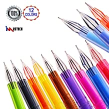 iMustech® 12 Cols Gel Pens Set, Premium Gel Pen with Diamond Head, Colored Fineliner Gel Pens, Fineliner Pen, Fineliner Coloring Pen, Fine Point with 0.5mm Tips, Perfect for Writing & Coloring