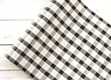 Hester and Cook 20''Black Painted Check Paper Runner