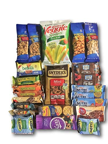 Natural & Healthy Snacks Care Package by AtHomePlus (25 Count) --Perfect Gift for College, Military or Office!!