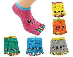 BONAMART ® 6 Pack Women Ladies Girls Split 5 Toes Crew Toe Cartoon Socks 3-5 Years Old