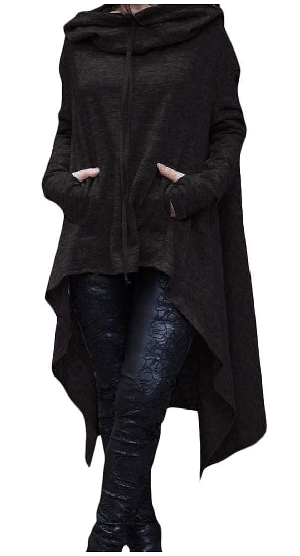 YUNY Womens Irregular Hem Sports Solid Color Long Hoodies Outwear Black XL