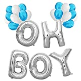 KUNGYO Baby Shower Decorations for Boy-Giant OH BOY Balloons-40 Mylar Balloon in Letters O-H-B-O-Y and 20 Pieces Blue & White Latex Balloons,Perfect Party Supplies for Hanging Indoor/Outdoor