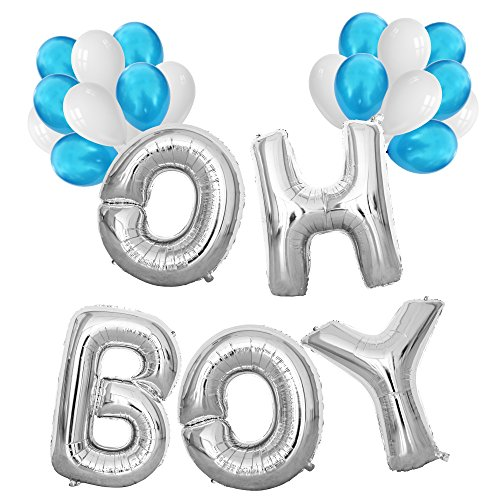 KUNGYO Baby Shower Decorations for Boy-Giant OH BOY Balloons-40 Mylar Balloon in Letters O-H-B-O-Y and 20 Pieces Blue & White Latex Balloons,Perfect Party Supplies for Hanging Indoor/Outdoor ()