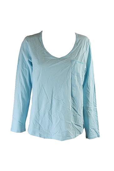 a82edd42d8fe5 Charter Club Long-sleeve V-neck Pajama Top Aqua Xxxl at Amazon ...