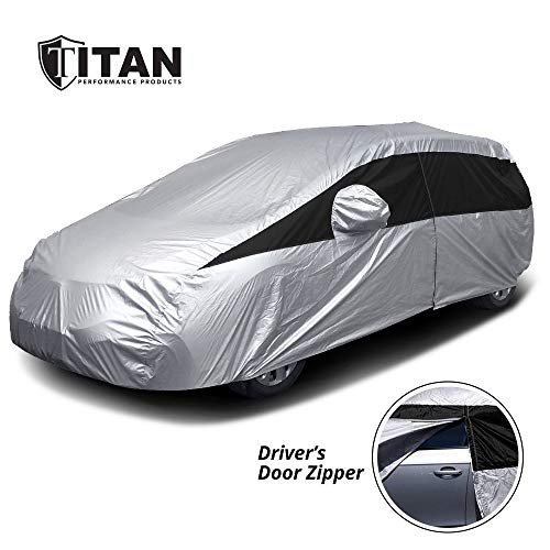 (Titan Lightweight Car Cover | Mid-Size Hatchback | Fits Toyota Prius, Mazda 3, Ford Focus, and More | Waterproof Cover Measures 181 Inches, Includes a Cable and Lock and Driver-Side Door Zipper)