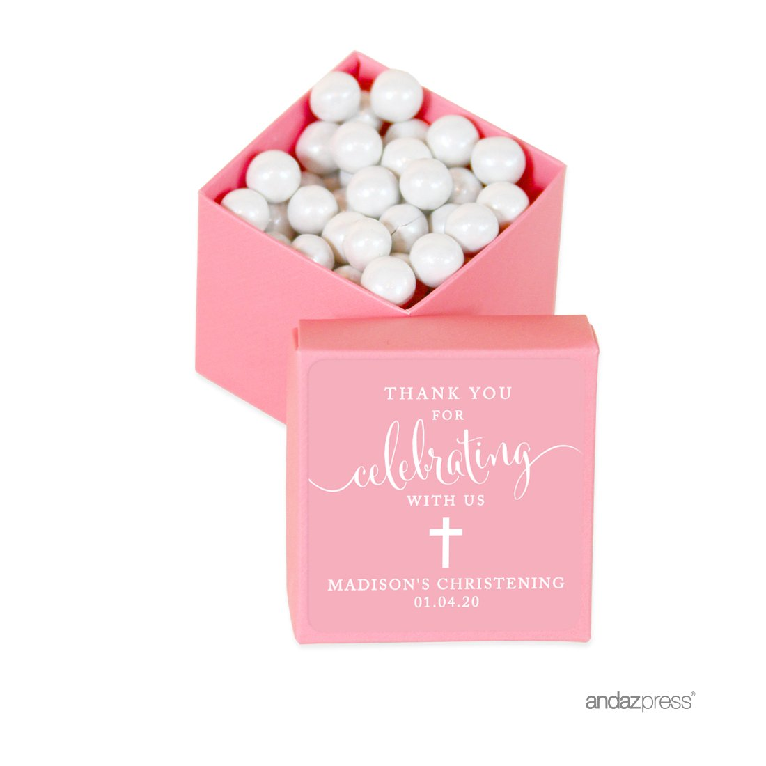 Andaz Press Personalized Mini Square Party Favor Box DIY Kit, Baptism, Thank You for Celebrating With Us, Pink, 20-Pack, For Religious, Christening Party Favors, Decorations, Custom Name