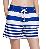 ChinFun Women's Quick Dry Board Shorts Stripe Swim Trunks Swimsuit Long Beach Shorts Side Pockets Blue M