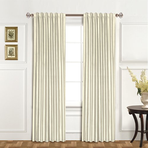 United Curtain 100-Percent Dupioni Silk Window Curtain Panel, 42 by 84-Inch, Oyster