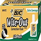 BIC Wite-Out Extra Coverage Correction Fluid, White, 12 Correction Fluids