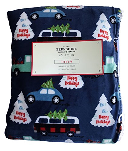Happy Holiday's Cars and Trees Christmas Holiday Plush Throw