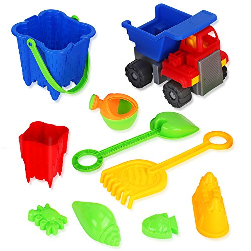 Liberty Imports 2-in-1 Beach Dump Truck Sand Castle Mold Builder Bucket Toy Set (10 Pcs)