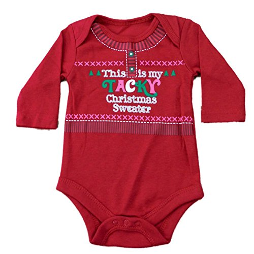 Walmart Infant Girls Red This Is My Tacky Christmas Sweater Creeper Holiday Bodysuit (Christmas Sweaters Mart Wal)