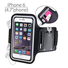 Avantree iPhone 6 6s Armband, Running Sports Gym Armband for iPhone 5 4S Samsung Galaxy S3 S4 with Earphone Cord Key Cards Holder - Shield