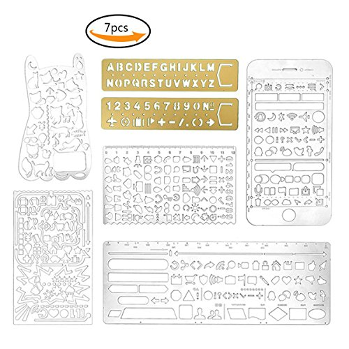 Drawing Pack (Teenitor Pack of 7 Stainless Steel Drawing Painting Stencils Scale Template Portable Drawing Graffiti for Scrapbooking, Card and Craft Projects)
