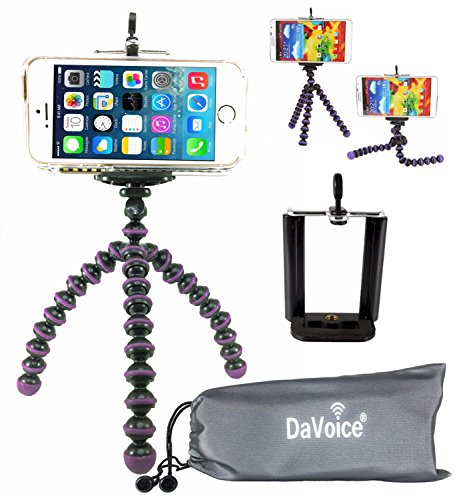 DaVoice Flexible Tripod Compatible with iPhone 7 6s 6 5s 5c 5 4s 4 SE 8 X XS XR Galaxy S9 S8 S7 S6 S5 - Bendy Tripod - Cellphone Tripod Adapter - Travel Bag - Mini Lightweight Bendable (Purple/Black)