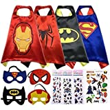 Sasha Kids Comics Cartoon Hero Dress Up Satin Capes with Felt Mask 4 Costume Sets for kids with Bonus Stickers and Tattoo