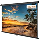 Manual Pull Down Projector Screen 100 inch 16:9 Retractable Projection Screen HD for Indoor Home Theater Cinema School Office, Wall/Ceiling Mounted Movie Screen, Black
