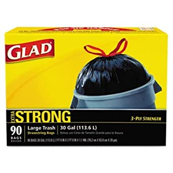 "GLAD 70313 Drawstring Outdoor 30-Gallon Trash Bags, 1.05 Mil, 30"" x 33"", Black (Pack of 90)"