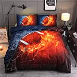 A Nice Night Rugby American Football Comforter Quilt Set Bedding Set for Teen Boys (Rugby)