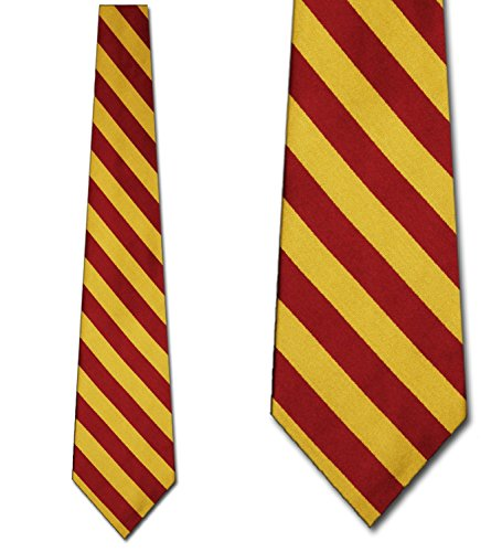 Mens College Stripe Burgandy and Gold Striped Ties (Tie Stripe Rep)