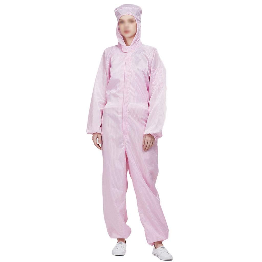 YYTL Anti-Static Clothing, Coverall Dust-Proof Suit,Suitable for Dust-Free Workshop Food Processing Bio-Engineering, 3 Pieces (Color : Pink, Size : XL) by YYTL