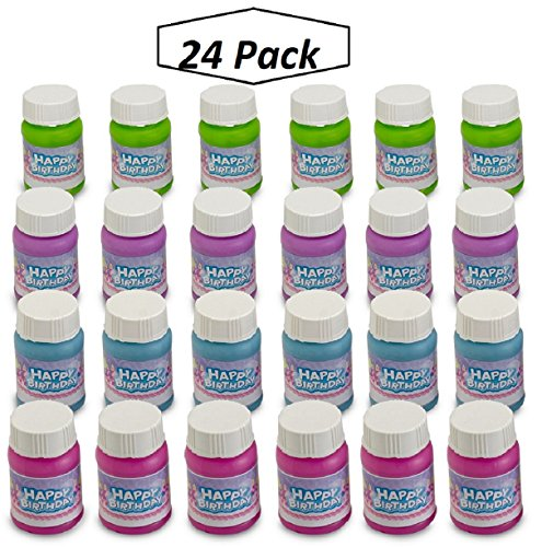 Happy Birthday Bubbles Assorted Color Mini 1 Oz Bubble Bottles 24 Pack - For Children, Parties, Party Favors, Games, Fun, Gifts, Play, And Celebrations -By Kidsco -